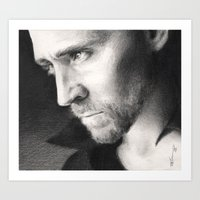 tom hiddleston Art Prints featuring Tom Hiddleston by CaptBexx