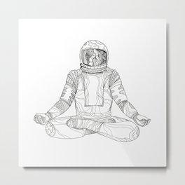 Astronaut Lotus Position Mandala Metal Print
