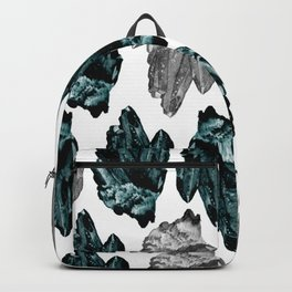 turquoise and grey crystal pattern Backpack