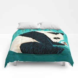 The Panda and The Butterfly - turquoise version Comforters