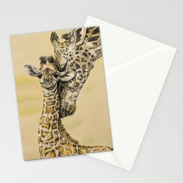 baby giraffe and mom Stationery Cards