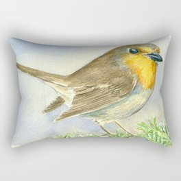 Robin bird on a frosted juniper branch Rectangular Pillow
