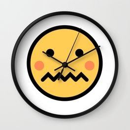 Smiley Face   A Bit Shamed Rosey Cheeks Expressionless Face Wall Clock