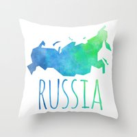 russia Throw Pillows featuring Russia by Stephanie Wittenburg