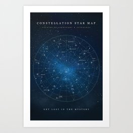 Constellation Star Map Art Print