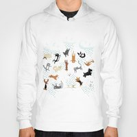 yorkie Hoodies featuring Raining Cats & Dogs by Anne Was Here