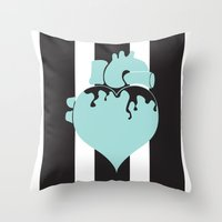 pastel goth Throw Pillows featuring Pastel Goth Heart by Minette Wasserman