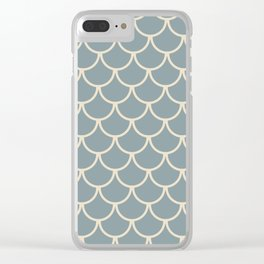 Blue & Light Beige Fish Scales Pattern Clear iPhone Case
