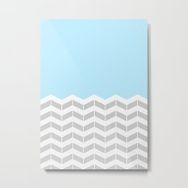 Grey, White & Blue Half Chevron Metal Print