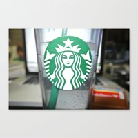starbucks Canvas Prints featuring STARBUCKS by Marco ☁ Gasperi