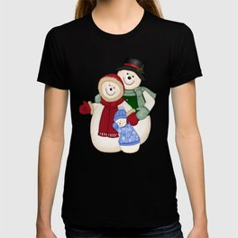 Snowman and Family Glittered T-shirt