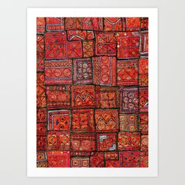 V5 Red Traditional Moroccan Design - A3 Art Print