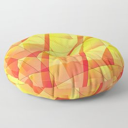 Bright contrasting fragments of crystals on irregularly shaped yellow and orange triangles. Floor Pillow