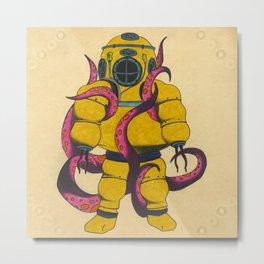 Yellow Scuba Diver Metal Print
