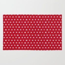 Red with white stars pattern Rug