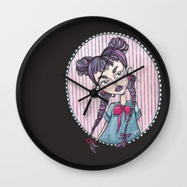 sweet girl with pigtails Wall Clock