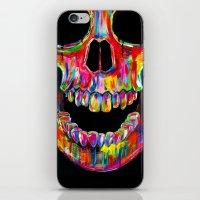 skull iPhone & iPod Skins featuring Chromatic Skull by John Filipe