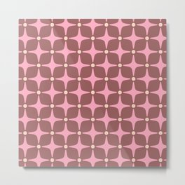 Mid Century Modern Star Pattern 143 Pink and Brown Metal Print