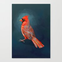 cardinal Canvas Prints featuring Cardinal by Freeminds