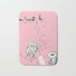 Two Tailed Duck and Jellyfish Baby Pink Deep Bath Mat