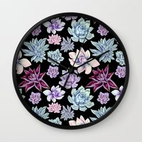 succulents Wall Clocks featuring Succulents by Miranda Montes