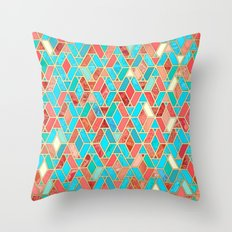 Melon and Aqua Geometric Tile Pattern Throw Pillow