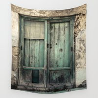 door Wall Tapestries featuring Old Green Door by Maria Heyens