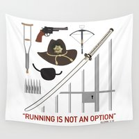 the walking dead Wall Tapestries featuring The Walking Dead Items by CLM Design