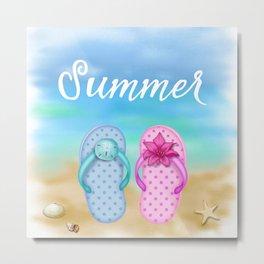 Beach & summer slippers  Metal Print