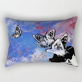 Long Gone Whisper III: Blue (butterfly girl spray paint graffiti painting) Rectangular Pillow