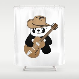 Funny panda with guitar Shower Curtain