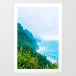 green mountain and ocean view at Kauai, Hawaii, USA Art Print