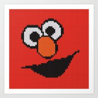elmo Art Prints featuring Knit Elmo by colli13designs