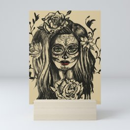 Day of Dead Girl Sugar Skull Girl Mini Art Print