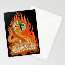 Striking Cobra with Flames Stationery Cards