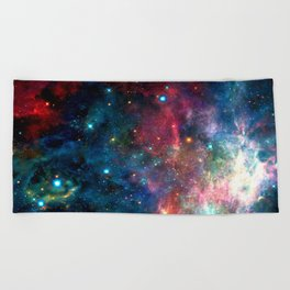 Cosmic Connection, Galaxy, Space, Nebula, Stars, Planet, Universe, Beach Towel
