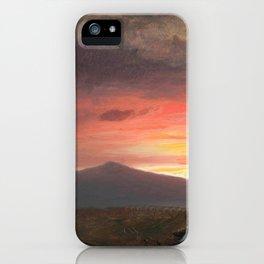 Frederic Edwin Church - Twilight, Mount Ktaadn - Hudson River School Oil Painting iPhone Case