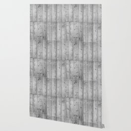 Wood Planks in black and white Wallpaper