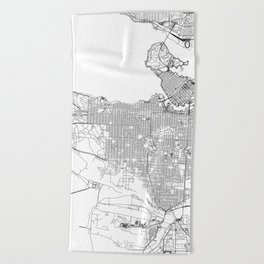 Vancouver White Map Beach Towel
