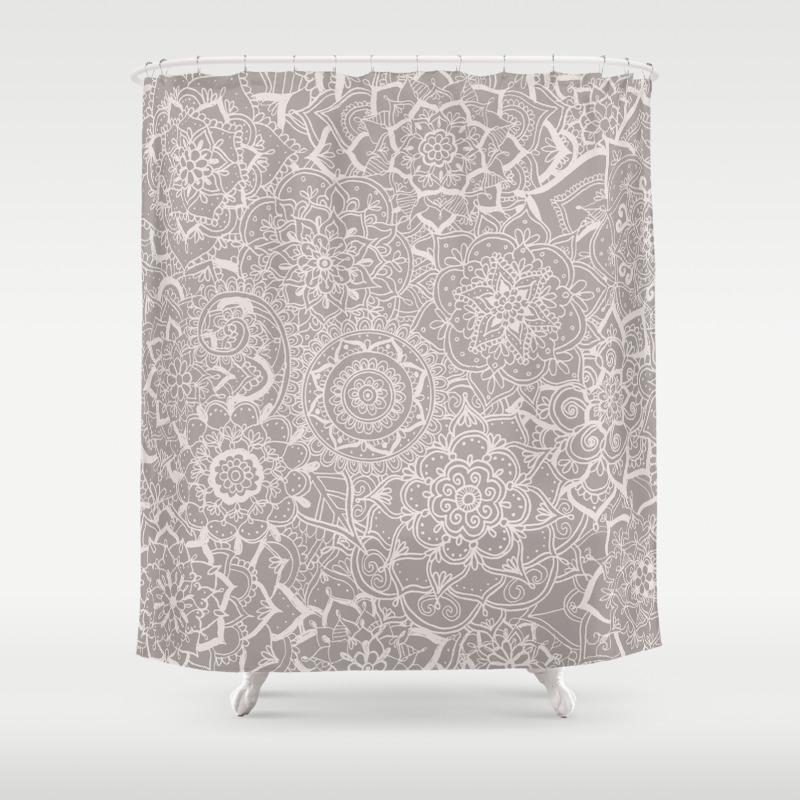 Delicate Lace Mandala Pattern Grey Cream Shower Curtain By Laurelmae Society6