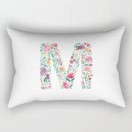 """Watercolor Alphabet """"M"""" Rectangular Pillow"""