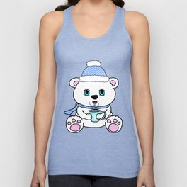 Polar Bear Drinking Hot Chocolate Unisex Tank Top