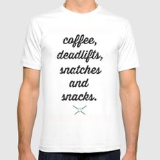 coffee, deadlifts, snatches and snacks White Mens Fitted Tee LARGE
