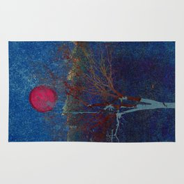 Abstract watercolor landscape with tree Rug