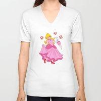 princess peach V-neck T-shirts featuring PRINCESS PEACH by Laurdione