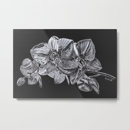 Silver Orchid Metal Print