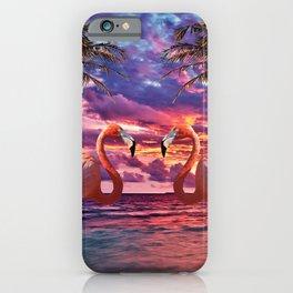 Cute Colorful Flamingo Palm Tree iPhone Case