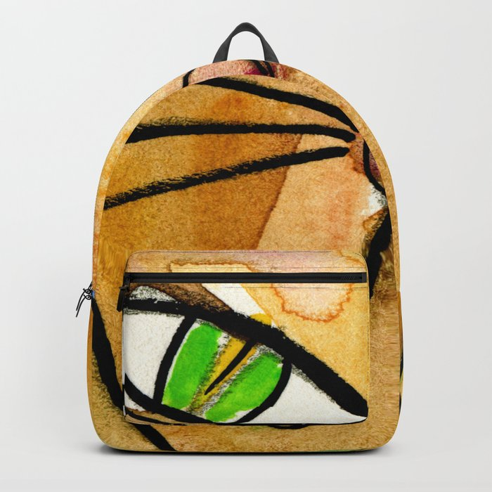 My Crazy Cat No  3 by Kathy Morton Stanion Backpack by kathymortonstanion