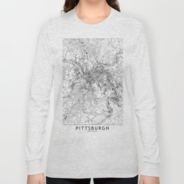 Pittsburgh White Map Long Sleeve T-shirt