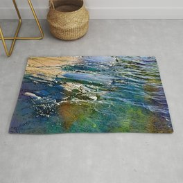Colored sea waves licking the rock Rug